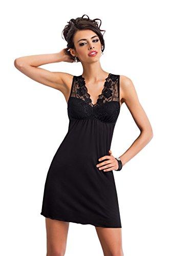 Selente edles Damen Negligee/Nachthemd mit eleganter Spitzenverzierung und zusätzlicher exklusiver Satin-Augenbinde, schwarz, Gr. 42