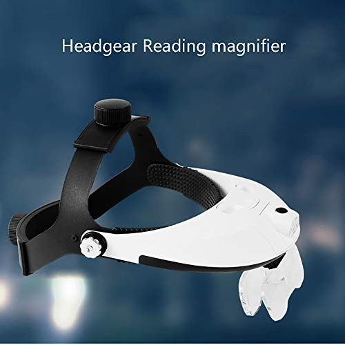 AXH Headband Headset Head Mounted Magnifier with LED Lamp Light Jeweler Watch Repair Helmet Magnifier Magnifying Glass Loupe 5 Lens