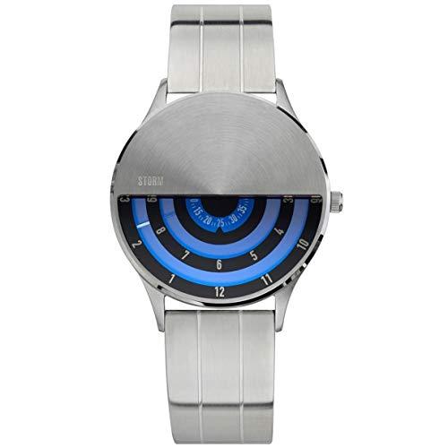 STORM London VLF Lazer Blue, Herrenuhr, Edelstahlgehäuse, Mineralglas, rotierende Scheiben als Uhrzeiger, 5 bar Wasserdicht, 47443/LB