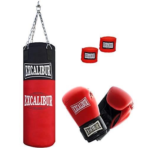 Jugend Boxsack Excalibur Allround – Handgefertigt Aus Extrem Robusten, Hochwertigen Nylon - Inklusive Kettenaufhängung, Drehwirbel Und Stabiler Aufhängung, 80cm – Verschiedene Sets (6 Oz)