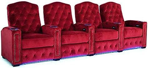 Octane Regal XL250 Power Recline Sangria Microfiber Home Theater Seating (Set of 4)