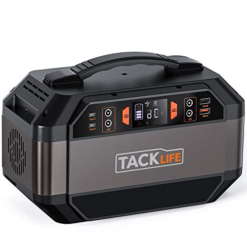 TACKLIFE 299Wh Portable Power Station, 300W Solar Ready Battery Generator, 110V/300W Pure Sine Wave AC Outlets, Backup Battery for CPAP/Outdoors Camping/RV Travel/Hunting/Fishing