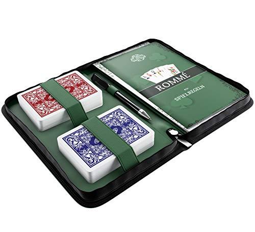Bullets Playing Cards Rommé Set in Kunstleder-Etui, inklusive Plastik Spielkarten, Spielregeln mit 15 Rommee-Varianten, Kurzregeln, Stift und Block