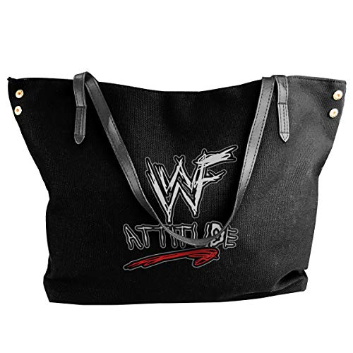 Happiness Station Wwf Attitude Era Women Style Canvas Large Tote Top Handle Bag Shopping Hobo Shoulder Bag, Large Size 18.1'' X 4.9'' X 12.99''