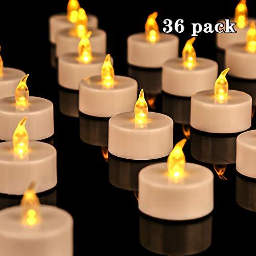 OSHINE36 led teelichter:Elektrische flackernde batteriebetriebene Kerzen 3.4x3.6 cm Batterien CR2032 Plastik Warmes Gelb[Batterien enthalten]