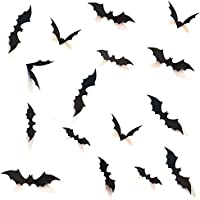 HOZZQ DIY Halloween Party Supplies PVC 3D Decorative Scary Bats Wall Decal Wall Sticker, Halloween Eve Decor Home Window...