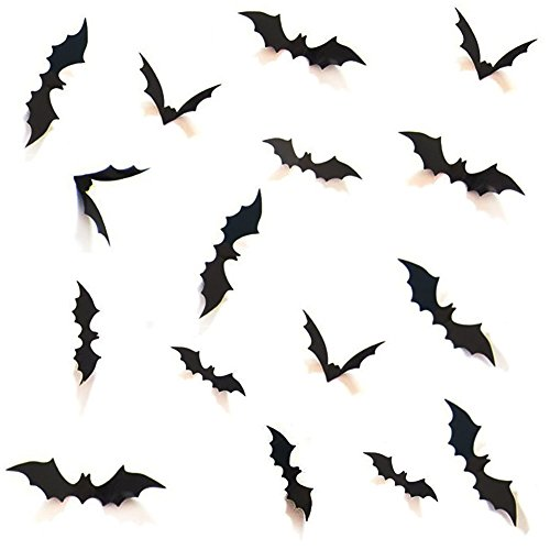 HOZZQ DIY Halloween Party Supplies PVC 3D Decorative Scary Bats Wall Decal Wall Sticker, Halloween...