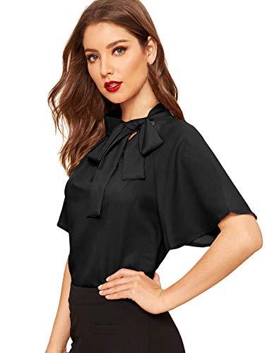 SheIn Women's Casual Side Bow Tie Neck Short Sleeve Blouse Shirt Top Medium Black
