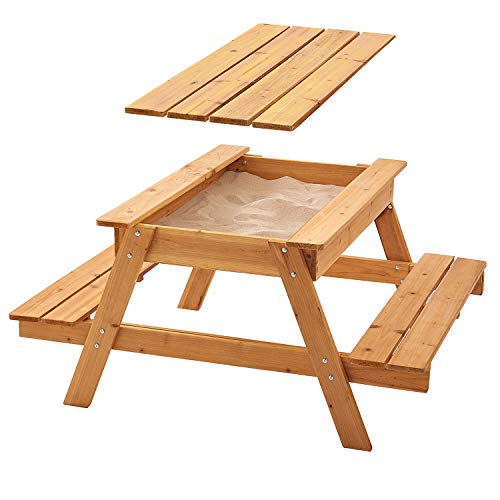 Garden Games Sandpit Picnic Table with Lid and Weather Cover – Children's 1.2 Wide Wooden Bench Sandbox