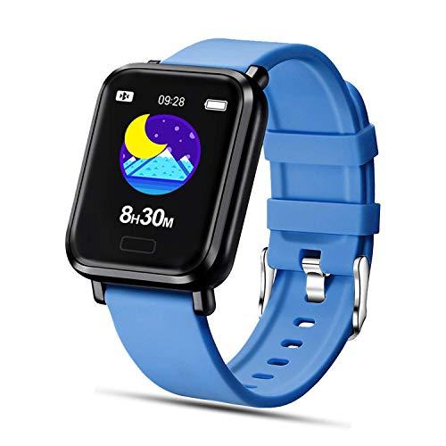 Tipmant Smartwatch, Reloj Inteligente Impermeable IP68 para Hombre Mujer Niños, Pulsera de Actividad Inteligente con Pulsometro Podometro Monitor de Sueño Contador de Caloría para Android iOS (Azul)