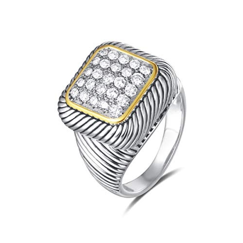 UNY Ring Twisted Cable Wire Designer Inspired Fashion Brand David Vintage Square Pave CZ Antique Women Jewelry Gift (White, 7)