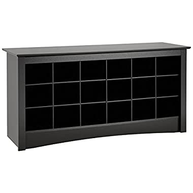 Prepac Black Shoe Storage Cubbie Bench
