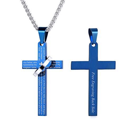 Colar com pingente de halo com cruz e pingente de cruz da Bíblia U7 de 55,88 cm, joia masculina cristã feminina, gravação de mensagem personalizada no laço do pingente (azul (com gravação personalizada))