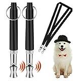 Hundepfeife [2 Stücke], Professionelle Ultraschall-Hundetrainingspfeife mit mit Schlüsselband Hund Training Kit und verstellbaren Frequenzen Trainingshilfe