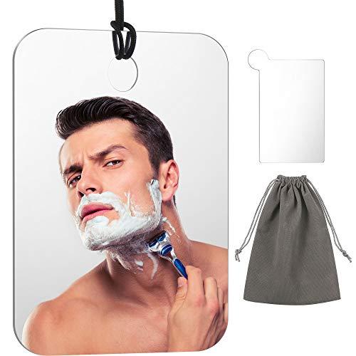 Dusche Spiegel Nebelfrei Spiegel Fogless Rasieren Spiegel Anti-Fog-Reisen Spiegel Leicht Hängend Spiegel mit Edelstahl-Taschen-Spiegel, Seil und Beuteln, 6,8 x 5,2 Zoll/ 17,3 x 13,2 cm