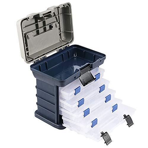 ZOENHOU 4 Layers Fishing Tackle Box, Premium Tackle Stuff Boxes Organizer Portable Large Capacity Fishing Stuff Storage Case for Men Women Beginner