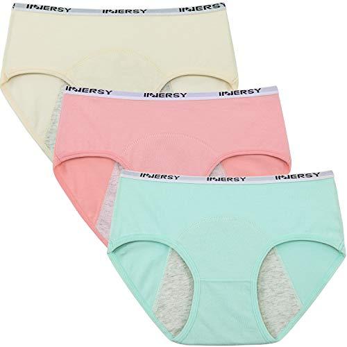 INNERSY Menstruation Unterwäsche Jugendliche Mädchen Baumwolle Periodenslip 3er Pack (M(Mädchen 12 Jahre alt), Beige/Rosa/Grün)