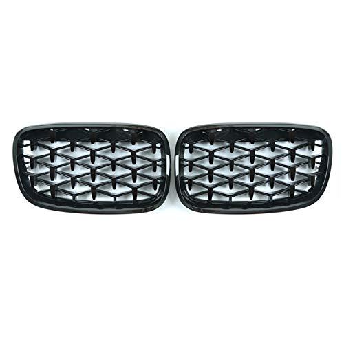 YRRC-ZT Grille, New Diamond Grills Mteteor Estilo de reemplazo de reemplazo de la Parrilla Delantera Delantero para BMW F15 F16 X5 X6 2014-2018 Accesorios para automóviles,Negro