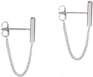 S925 Sterling Silver Minimalist Word Bar Chain Hanging Earrings Minimalist Bar Earrings