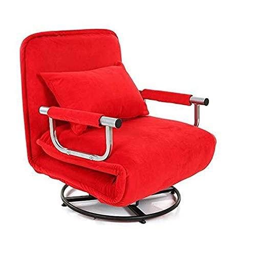 HJRBM Silla para Juegos, apoyabrazos Giratorio Plegable Silla para computadora de Lactancia Escolta Oficina Almuerzo Sofá Cama Sofá indolente de Tela (Color: Rojo) (Color: Café)