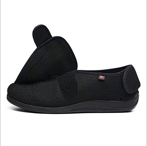 Nwarmsouth Zapatillas diabéticas Vendaje Zapatos,Pantuflas Ajustables en valgo del Pulgar, pies lesionados y Zapatos hinchados-38_Black 2,Zapato de Velcro Zapato de Salud cómodo