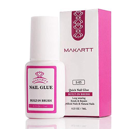 Nail Glue for Acrylic Nails, Brush on Nail Glue for Nail Repair, Professional Super False Nail Adhesive Glue for Broken Nails Long Lasting S-05