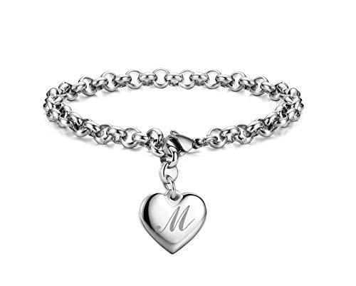Initial Charm Bracelets Stainless Steel Heart Letters M Alphabet Bracelet for Women