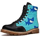 Anmarco Botas de invierno para mujer Ocean Sea Shark Patern Estampados Alta Parte Superior de Encaje Clásico de Lona Zapatos de Escuela, color Multicolor, talla 40 EU