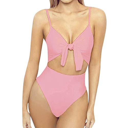 Preisvergleich Produktbild TOPKEAL Damen Sexy Einteiliger Einfarbig Badeanzug Push Up Gepolsterter Strandkleidung Sexy Bandeau Sling Bikini Strandmode Bademode (Rosa,  S)