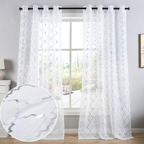 Kotile White Sheer Curtains with Silver Moroccan Tile Design - Grommet Window Treatments 84 Inches Long for Living Room/Bedroom, 52 x 84 Inch, Set of 2 Panels