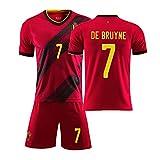 DFGH Kinder Erwachsene Sommer Fußball Student Sportswear Für Hazard 10 Lukaku 9 Bruyne 7 2020 Belgien Trikot benutzerdefinierte Heimfußball Anzug Anzug Team Uniform männlich-red7-20