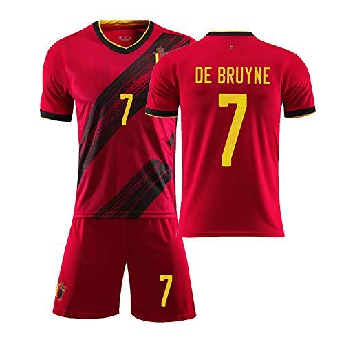 DFGH Für Hazard 10 Lukaku 9 Bruyne 7 Kinder Erwachsene Sommer Fußball Student Sportswear 2020 Belgien Trikot benutzerdefinierte Heimfußball Anzug Anzug Team Uniform männlich-red7-20