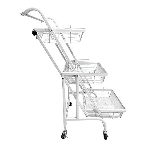 KT キッチンワゴン カゴ独立 角度調整 180度 90度 キッチン 浴室 リビング (ホワイト) [並行輸入品]