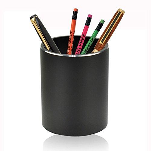 Lanker - Portalápices de aluminio, forma redonda, organizador de suministros de papelería, color plateado y negro