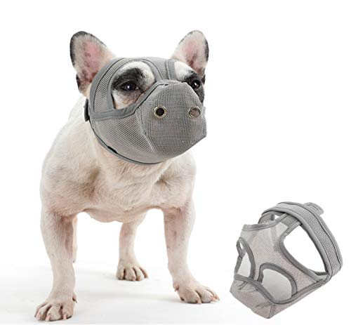 """Cilkus Short Snout Dog Muzzles - Bulldog Muzzle Adjustable Breathable Mesh Dog Muzzle Can Stick Out Tongue and Drink Water Anti-Biting and Training Dog Mask (S (15.3""""-16.1""""), Grey)"""