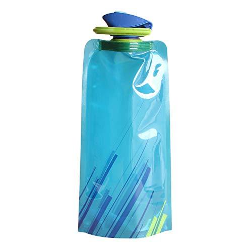 Botella Agua Plegable Plegable Botella De Agua Cristal Ligero de la Botella de Agua Deporte Taza de Agua Botella de Agua Plegable para Viajar Blue,700ml