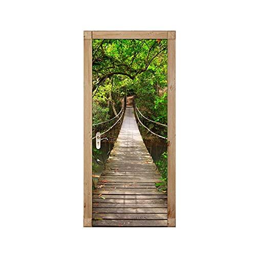 JYKFJ Pegatina de Puerta de Puente levadizo de Madera de Bosque Verde, Papel Tapiz de Paisaje, Estudio de Sala de Estar, calcomanía autoadhesiva de PVC para Puerta, decoración del hogar 3D