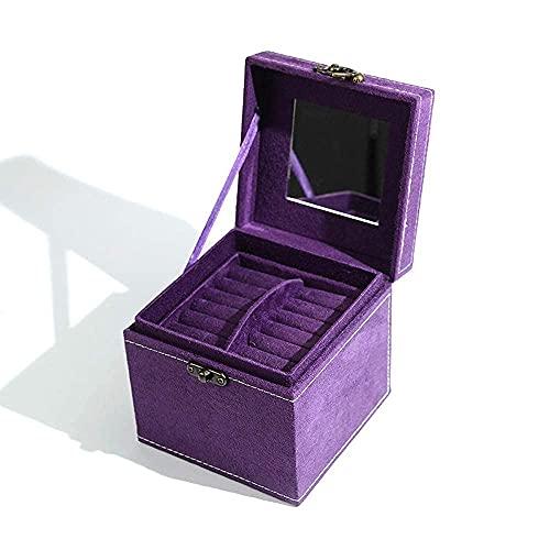 erddcbb Caja organizadora de Joyas Mini Caja de joyería de Viaje Organizador de exhibición Estuche de Almacenamiento para Pendientes Collar Anillos