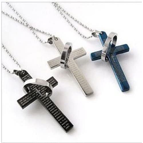 547cacf17fc Hot Men's Stainless Steel Cross &Ring Chain Pendant Necklace Fashion Good  Gift