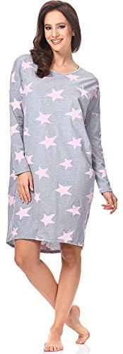 Italian Fashion IF Damen Nachthemd Star 0115 (Melange/Rosa, M)