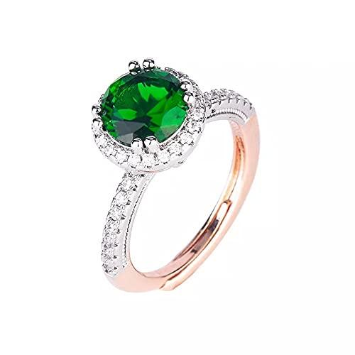 BAJIE Anillo de Boda, joyería de Oro Rosa, Piedra Preciosa Esmeralda, Anillo Ajustable, Ajuste Invisible para Mujer, turmalina