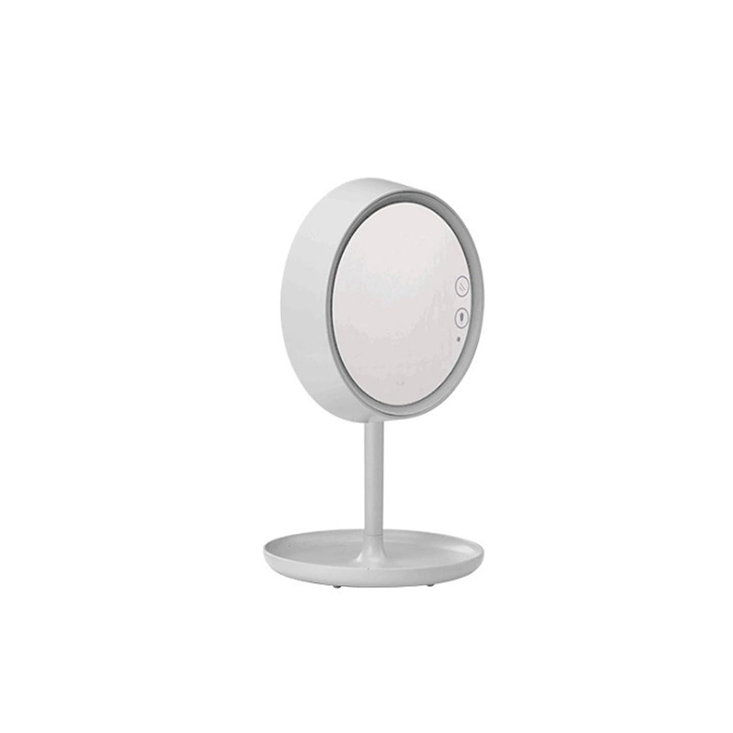 ちょうつがいエスニック脚本Amaiai LEDリング化粧鏡 ランプ 誕生日ギフト ガールフレンドギフト 収納付き (色 : ホワイト)