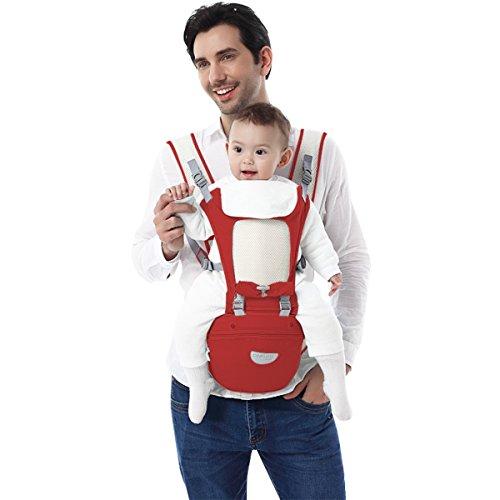 SONARIN Premium All Season Hipseat Baby Carrier, Babytrage, Zwei Schultern Hipseat,Multifunktion,Ergonomisch,Freie Größe,100{d5d65cec4aa580d91cf6e01709a455ce61317208590d41f4f144d31c6e61cbc9} GARANTIE und KOSTENLOSE LIEFERUNG, Ideal Geschenk(Dunkelrot)