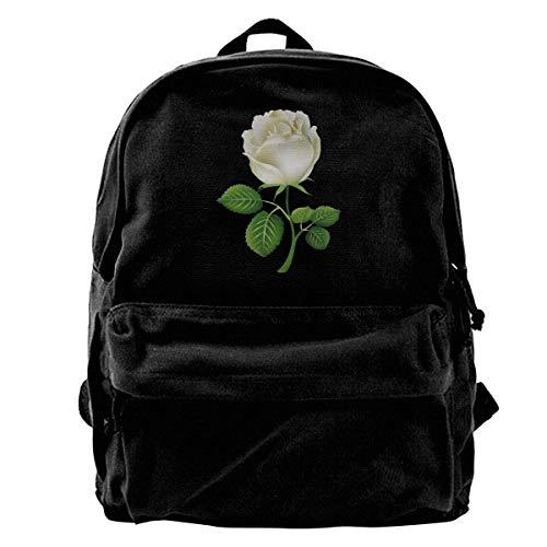 Mochila Escolar, Classic Canvas Backpack White Rose Unique Print Style,Fits 14 Inch Laptop,Durable,Black