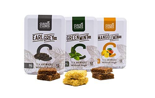 Variety Pack Cubed Tea - Pack of 3 (36 Loose Leaf Cubes) Earl Grey, Mango Lemon, Green Mint - Tea Bags Best Alternative - All Natural, Organic Ingredients