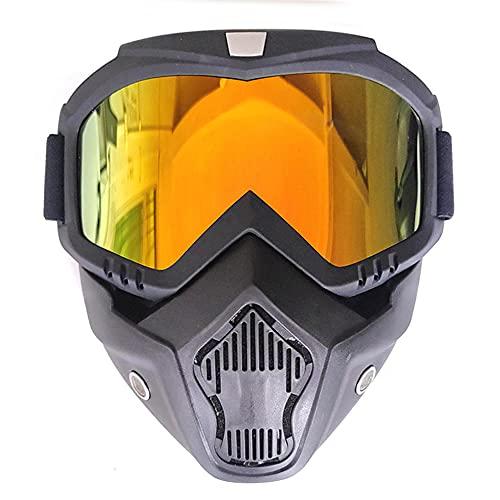 XINYIND Máscara De Motocross Con Máscara Extraíble y Filtro Boca Estilo Harley Casco Equitación Gafas De Sol Regalo De San Valentín Para Casco Abierto Motocross Ski Snowboard - Lente Roja