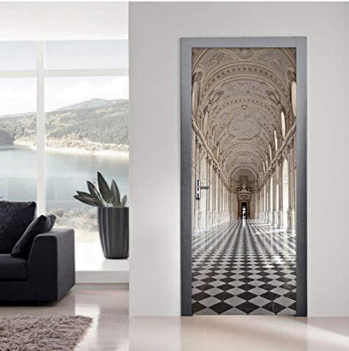 Zjxxm European Style Architecture 3D Poster Door Sticker Mural Papel De Parede Wall Decals Bedroom Living Room Door Wallpaper Decor-95cmx215cm