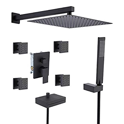 KES Rain Shower System 4-Function Shower Combo Set 12 Inch Rainfall Shower Head with 4 Shower Body Sprayer Jets and Waterfall Tub Faucet Matte Black, XB6405-BK