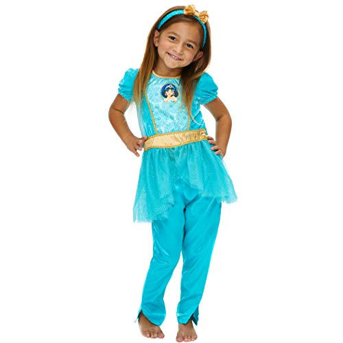 Disney Princess Jasmine Girls Costume Dress Tights & Headband Set