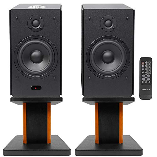 Buy Bargain (2) Rockville HD5B 5 Bluetooth Bookshelf Home Theater Speakers+Wood Stands